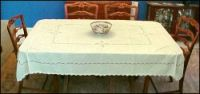 "Cotton Linen Tablecloth with Handmade Lace Ivory, Winter White, Pale Yellow 60"" x 78"""