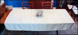 "Handmade Ecru Hand-Loomed Embroidery Cotton Linen Tablecloth Snowflake 61"" x 80"""